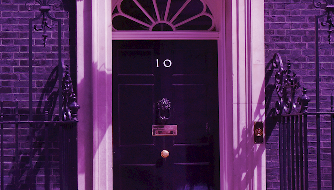 Black door with purple filter