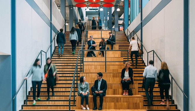 Academics Sitting on a University Staircase - Mace group