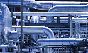 Gas pipes within a refinery