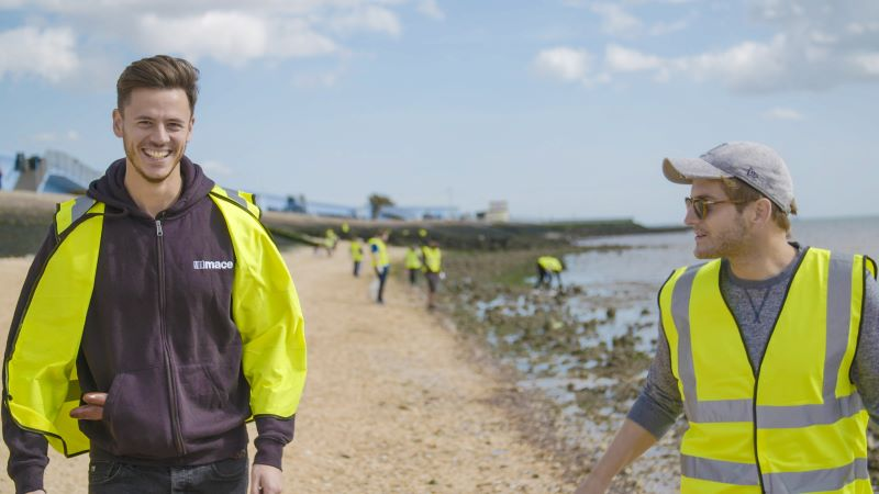 Mace People Volunteering Cleaning a Beach for a Charity - Mace Group