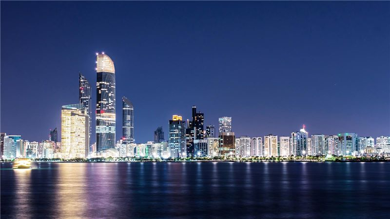 Night View of Abu Dhabi Skyscraper - Mace Group