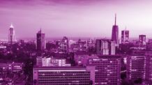 City landscape with a purple filter