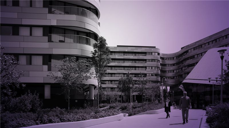 Building with purple overlay - Mace Group