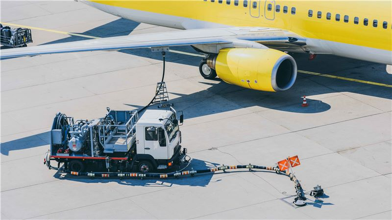 An aircraft being re-fueled