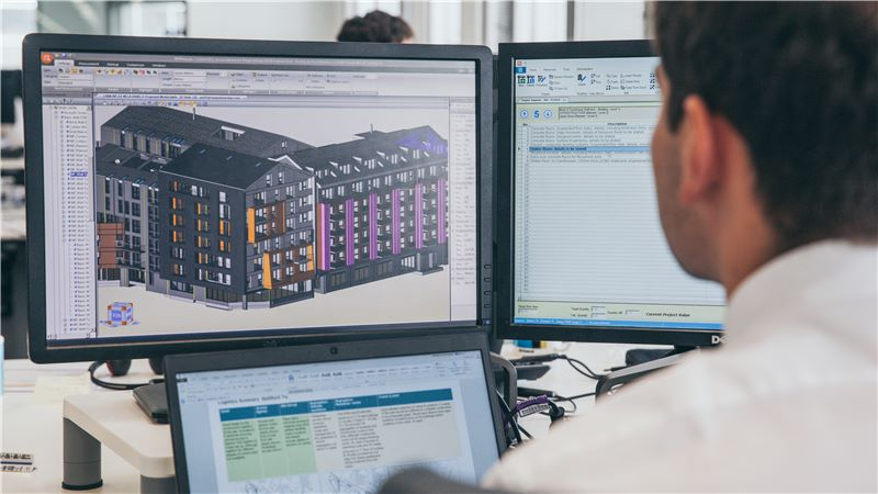 Male Architect Designing a Building Structure on Computer - Mace Group