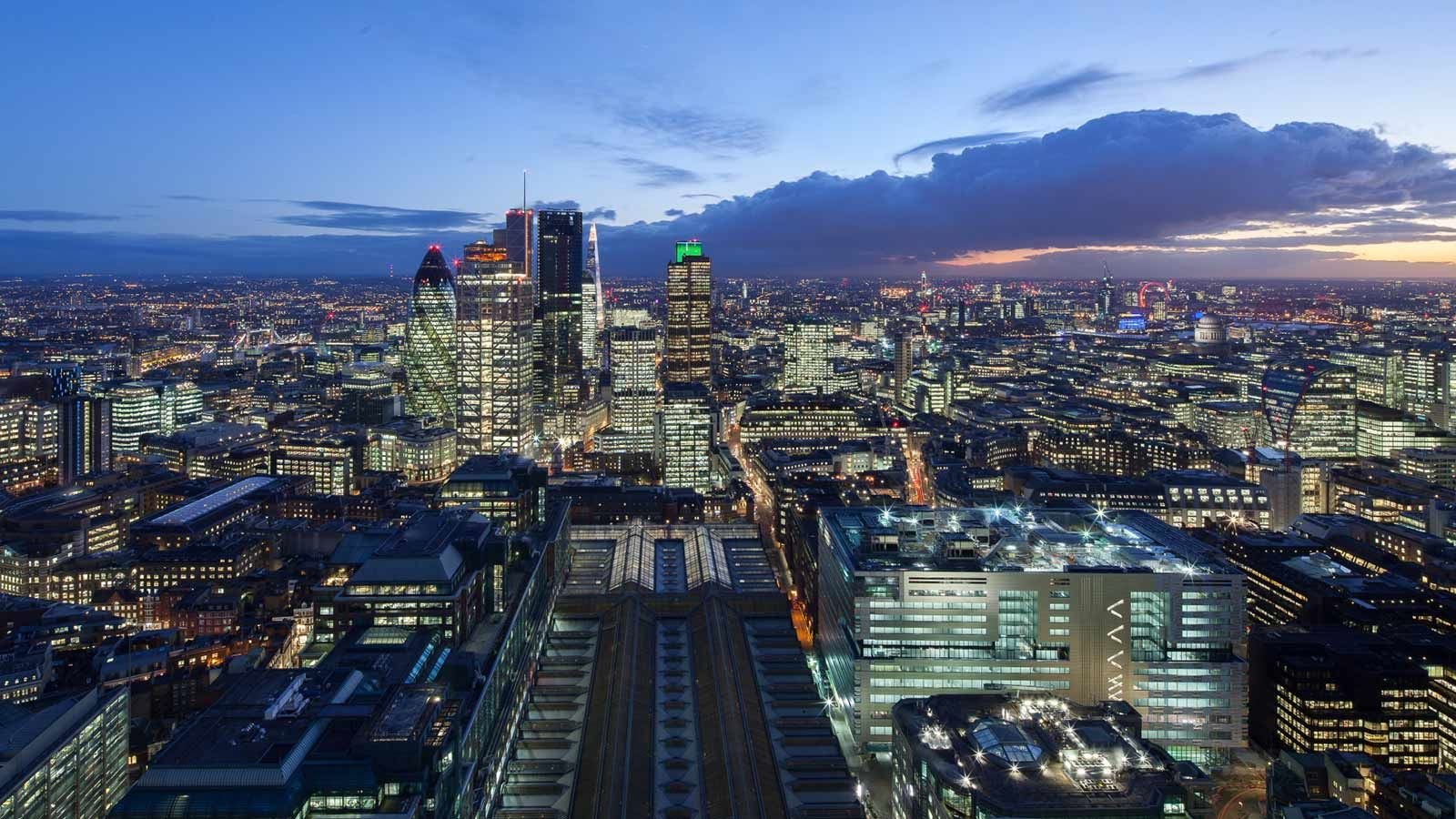 Broadgate London Evening Aerial View - Mace Group