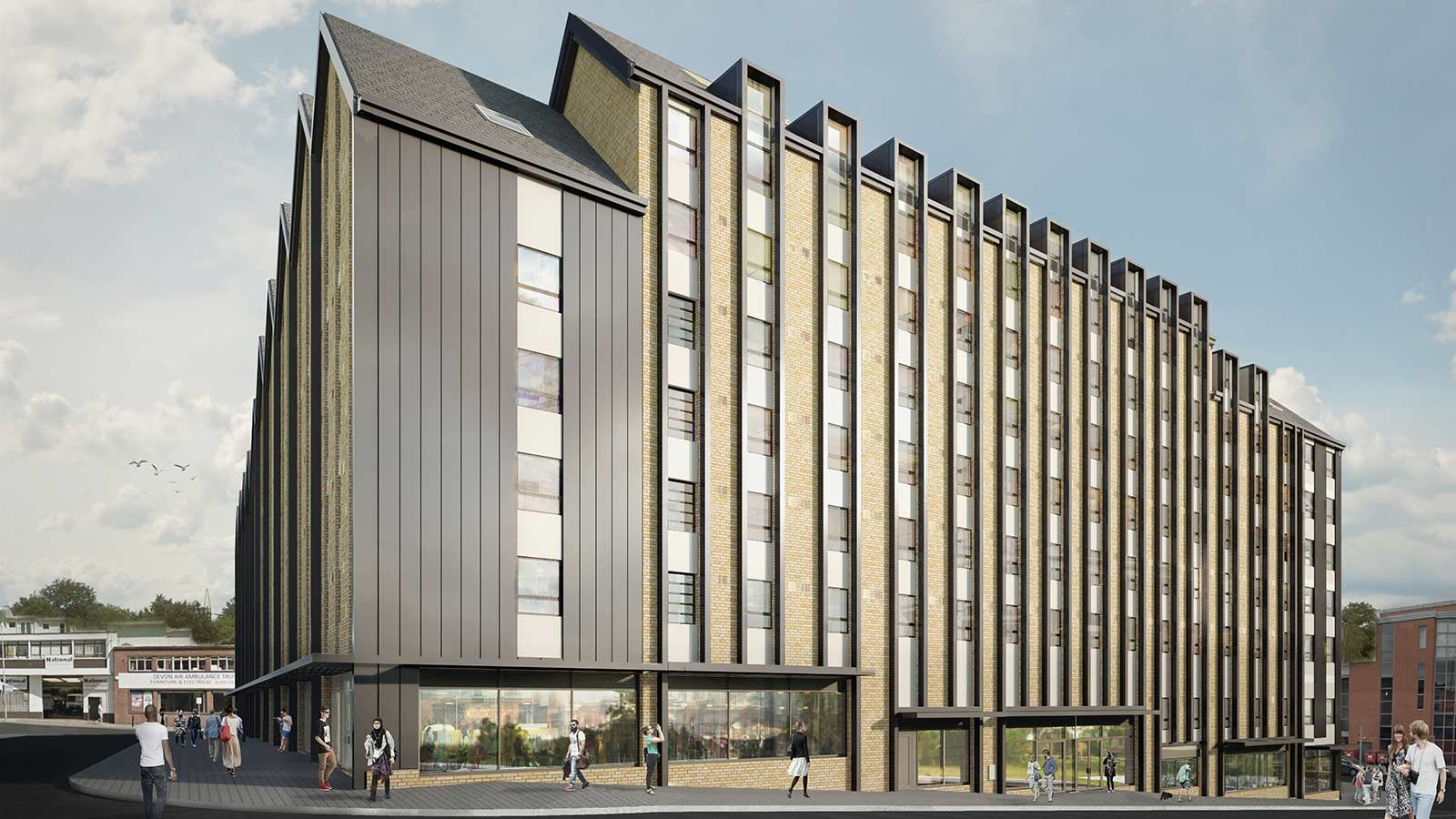 University of Exeter The Courtyard Accommodation Building Exterior - Mace Group