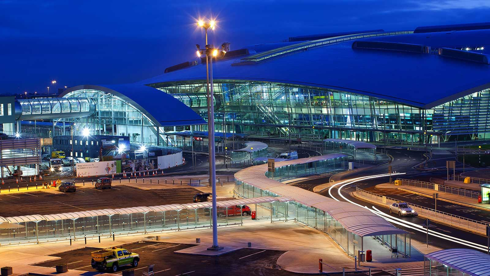 Dublin Airport Building Exterior Night View - Mace Group
