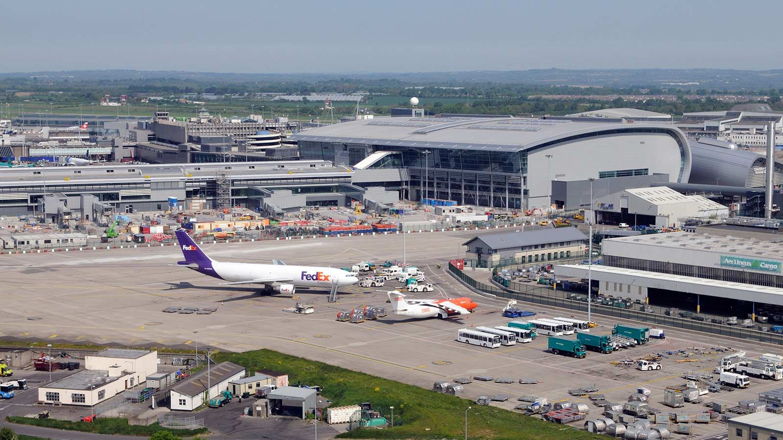 Aerial View of Dublin Airport Parked Planes  - Mace Group
