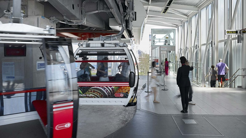 Emirates Air Line Cable Car People Coming Out - Mace Group