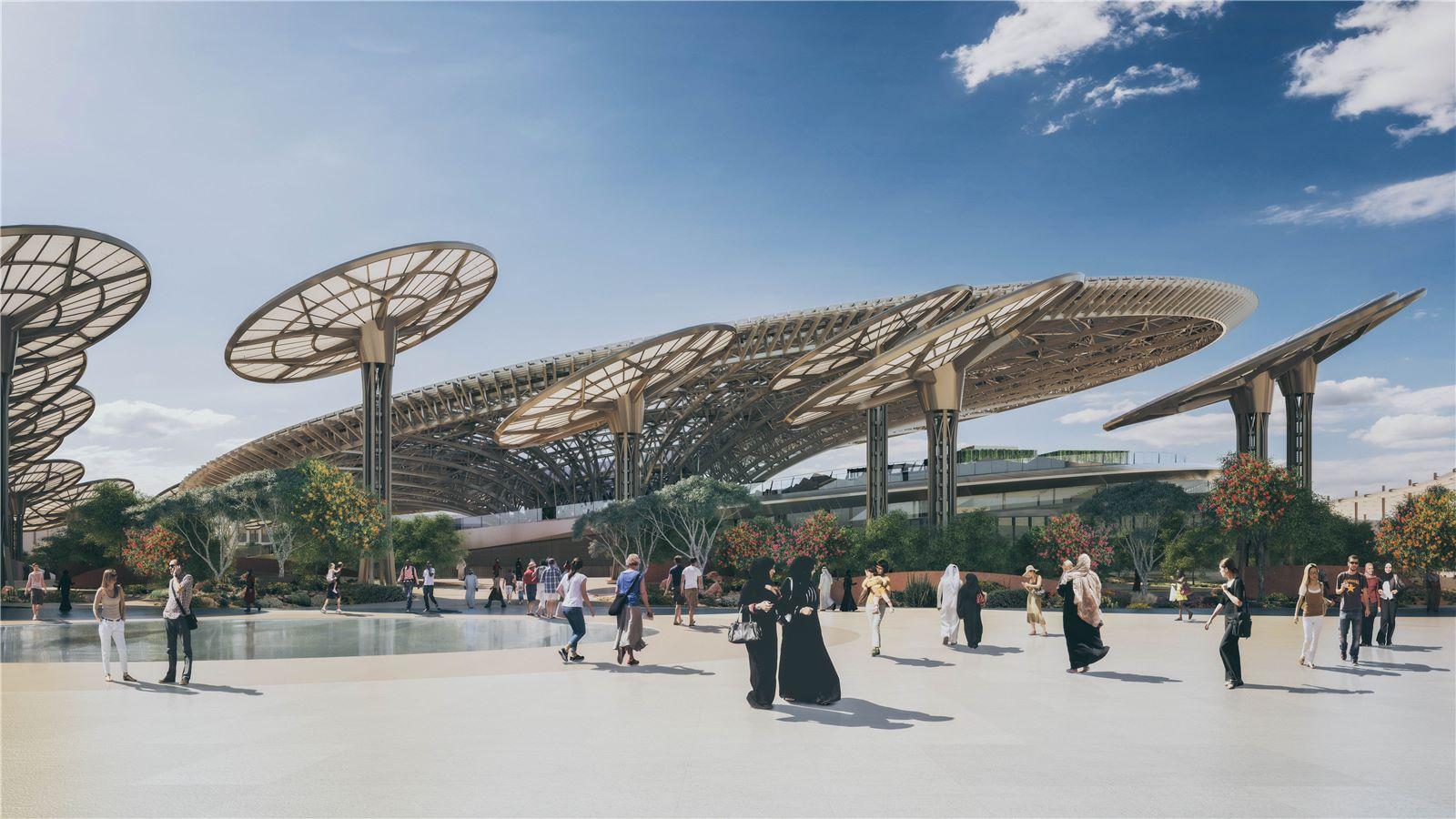 A CGI of the main entrance to Expo 2020 Dubai - Mace Group
