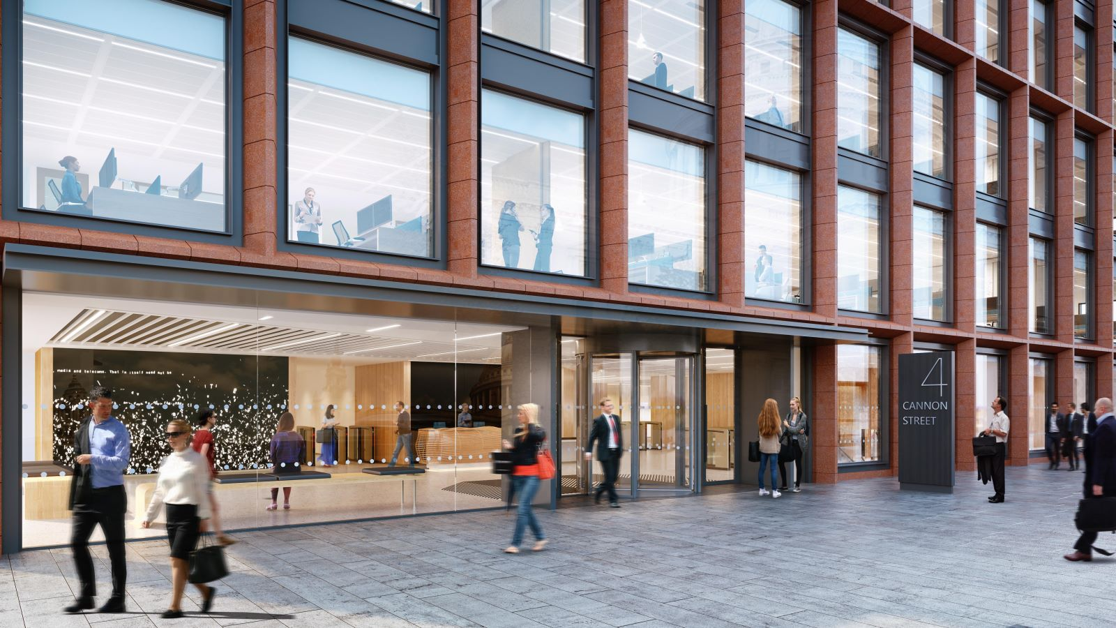 CGI view of end users walking outside the Fidelity building - Mace Group