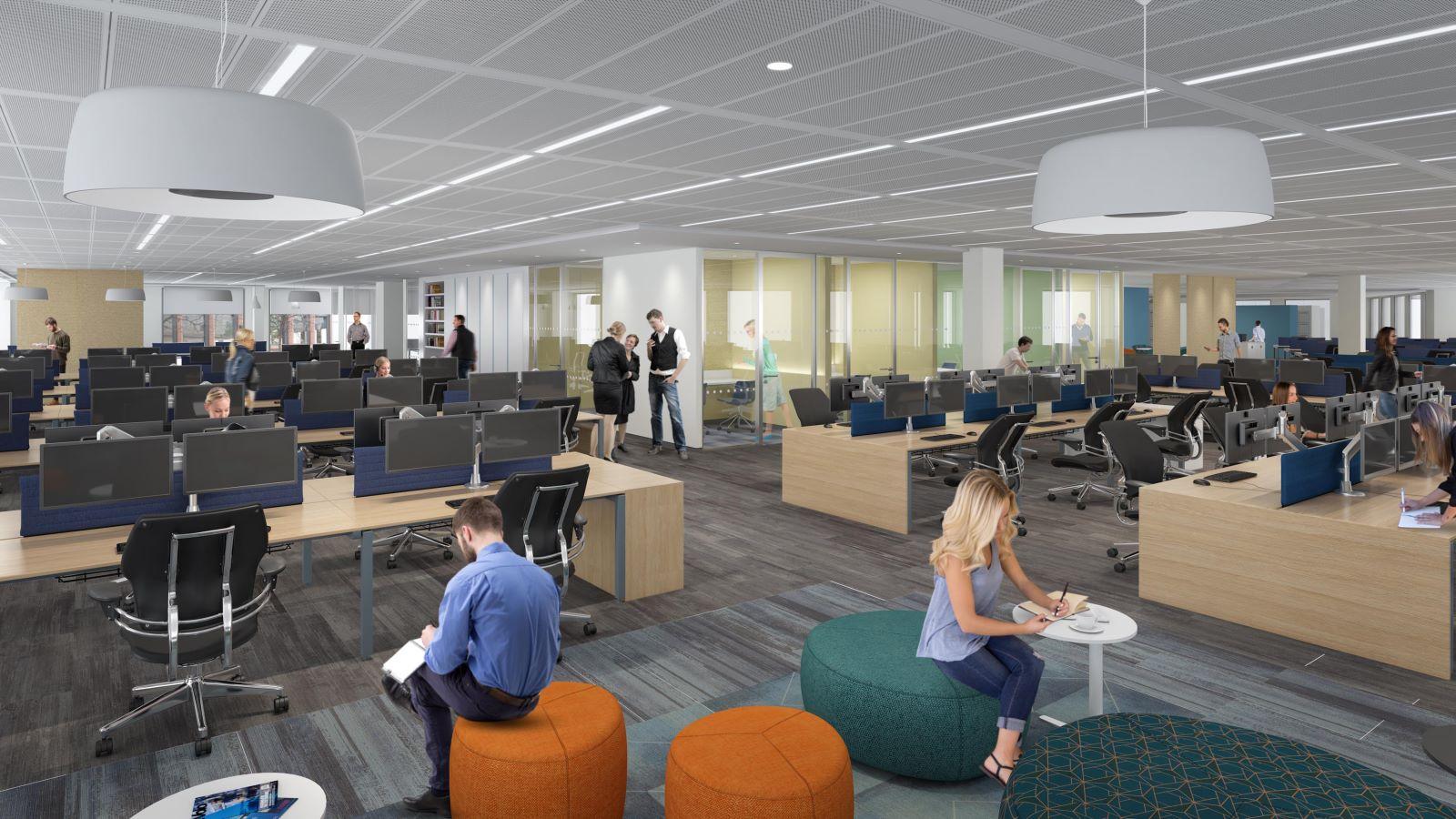 Fidelity Building Interior, Desk Area - Mace Group