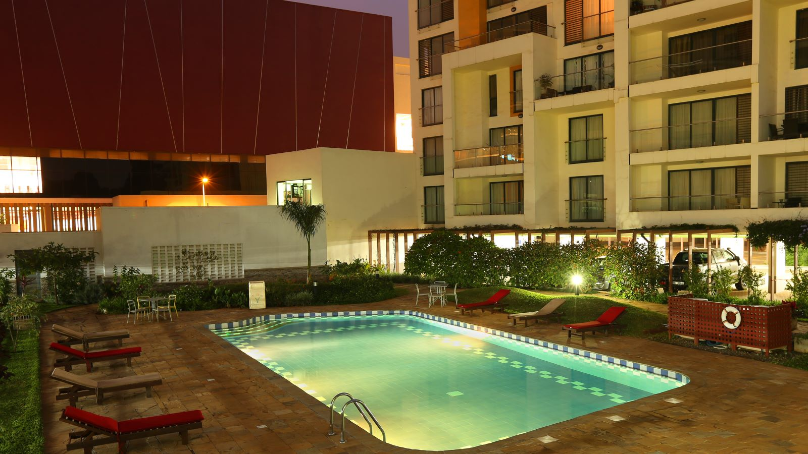 Night View of Garden City Outdoor Pool - Mace Group
