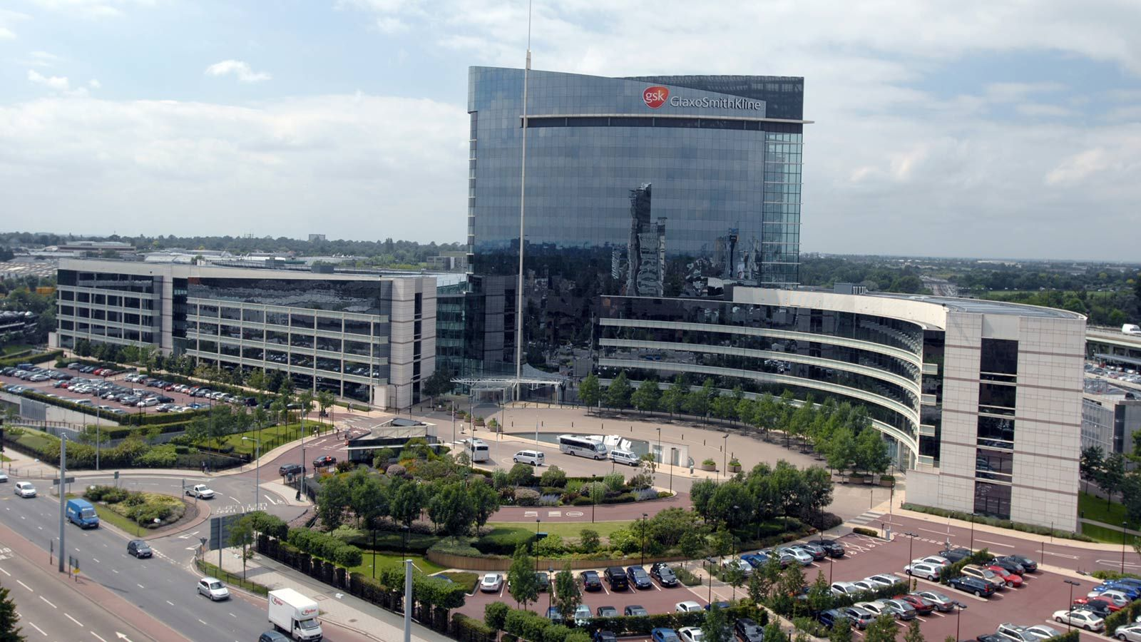 Aerial view of GSK building - Mace Group