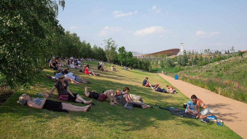Queen Elizabeth Olympic Park, People Relaxing in the Shade - Mace Group