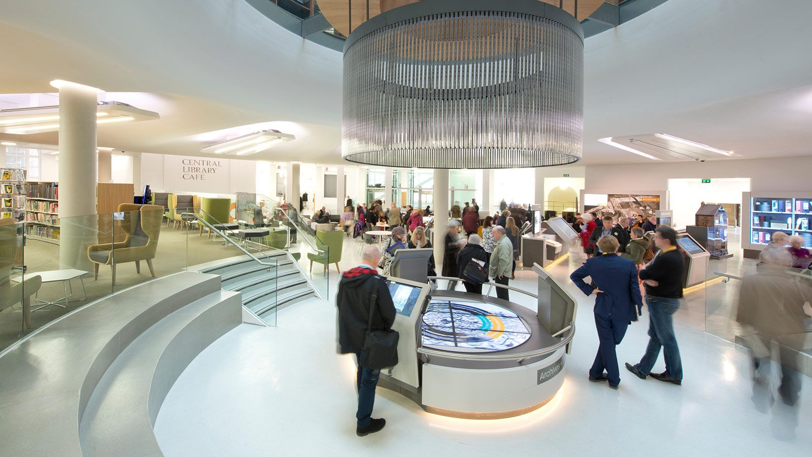 Visitors using the new facilities within the newly refurbished  Manchester Central Library - Mace Group