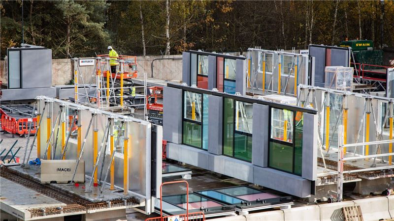 A view of prefabricated components at N06 East Village - Mace Group