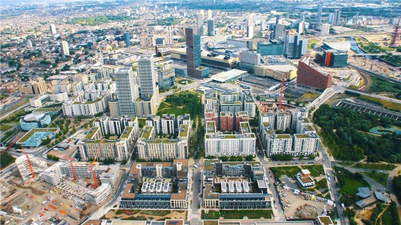 An aerial view of N06 East Village - Mace Group