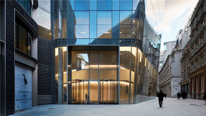 Street view of One Angel Court entrance - Mace Group