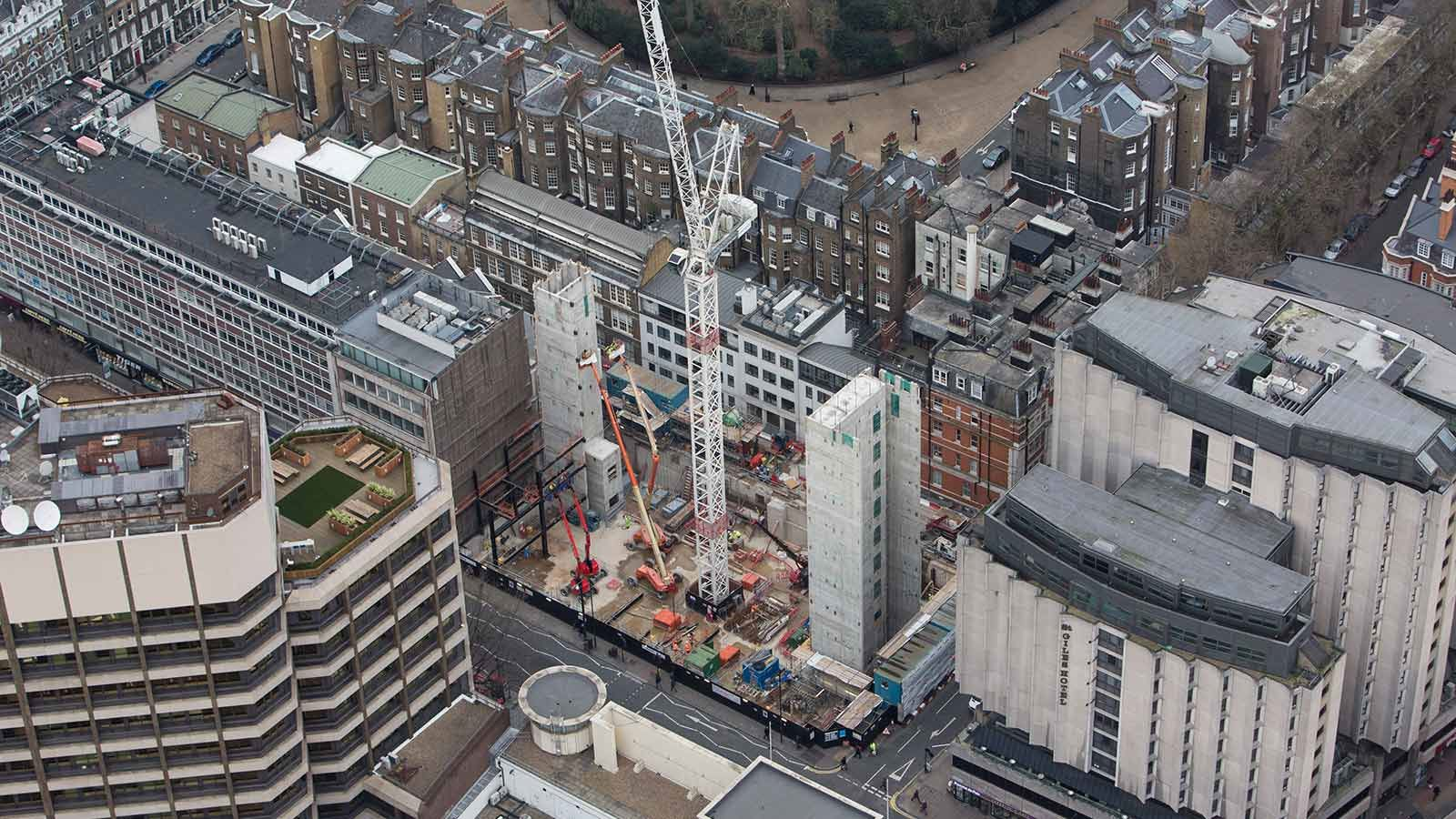 Aerial View of One Bedford Avenue Building Construction - Mace Group