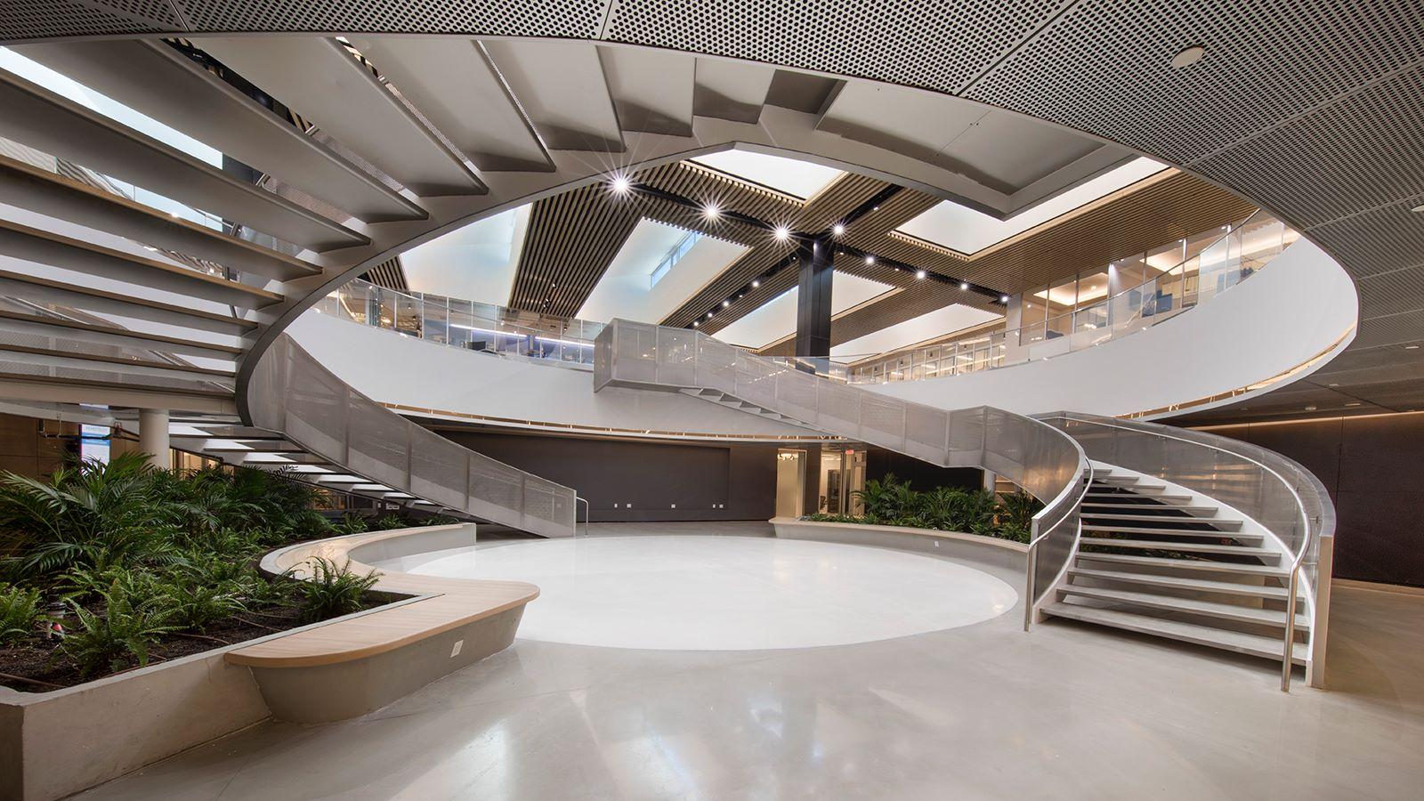Inside Telemundo Campus, Luxury Modern Stairs - Mace Group