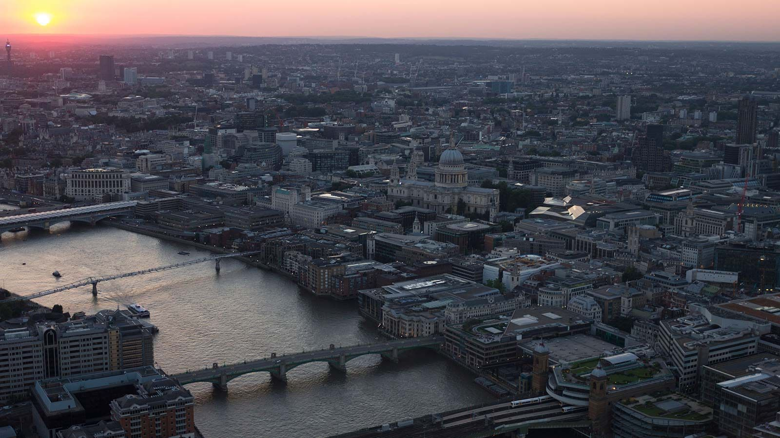 Aerial View of London Sun Set - Mace Group