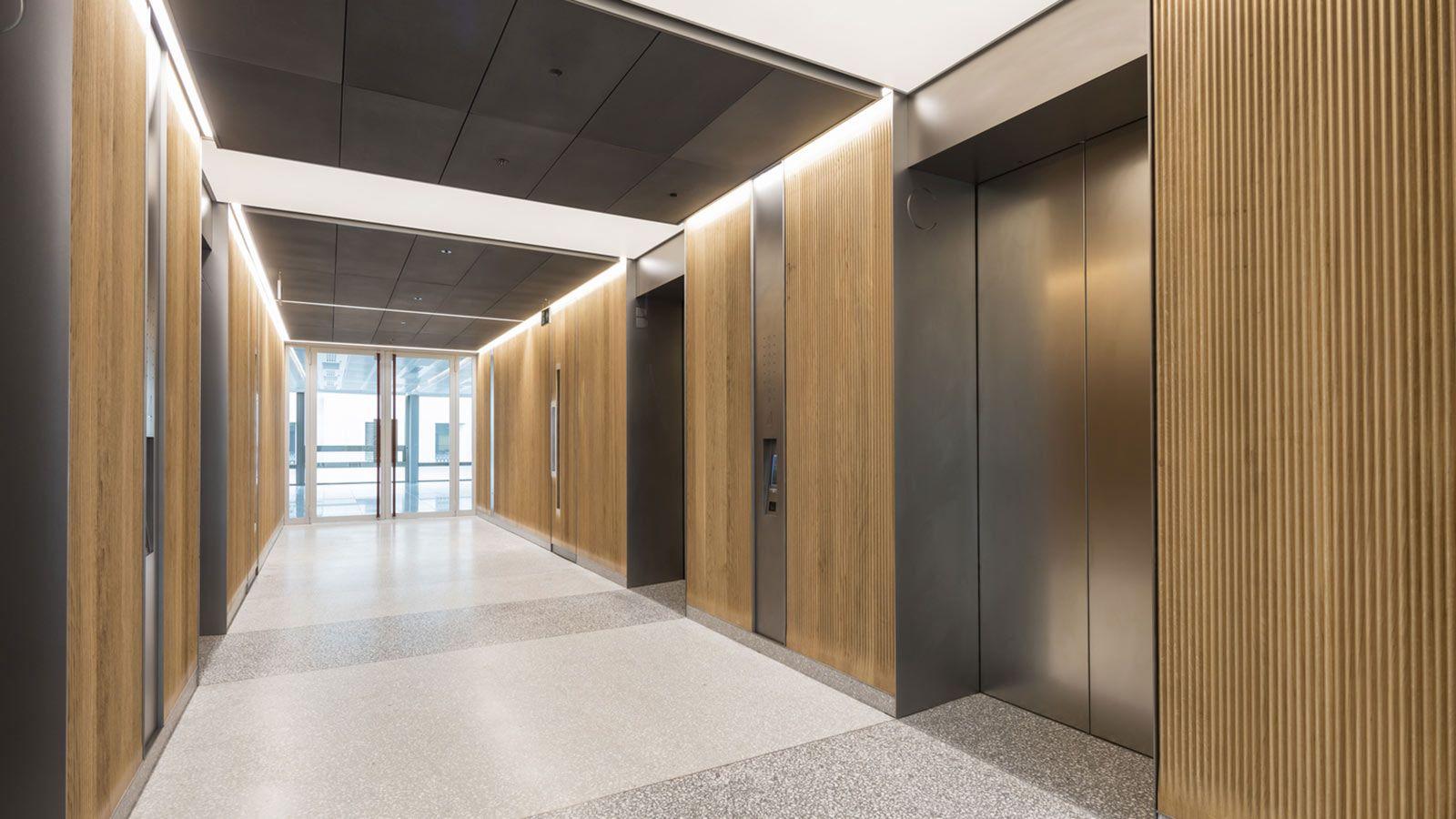 Elevators Inside W5 – New Burlington Place Building - Mace Group