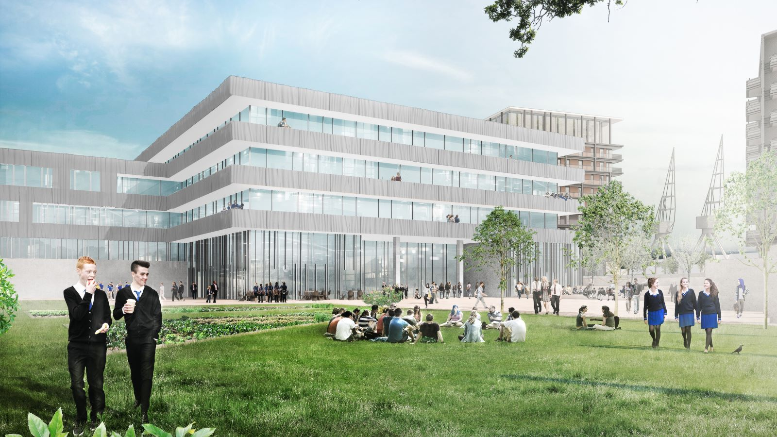CGI of Students in Uniform, Westferry Printworks Park - Mace Group
