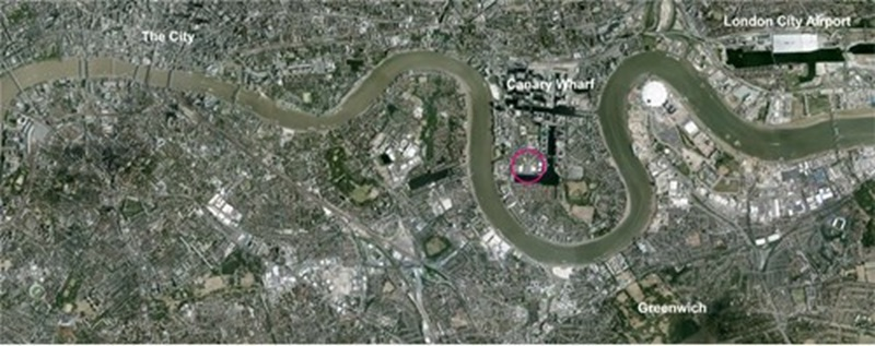 Aerial View of the London's River Thames, Westferry Printworks - Mace Group