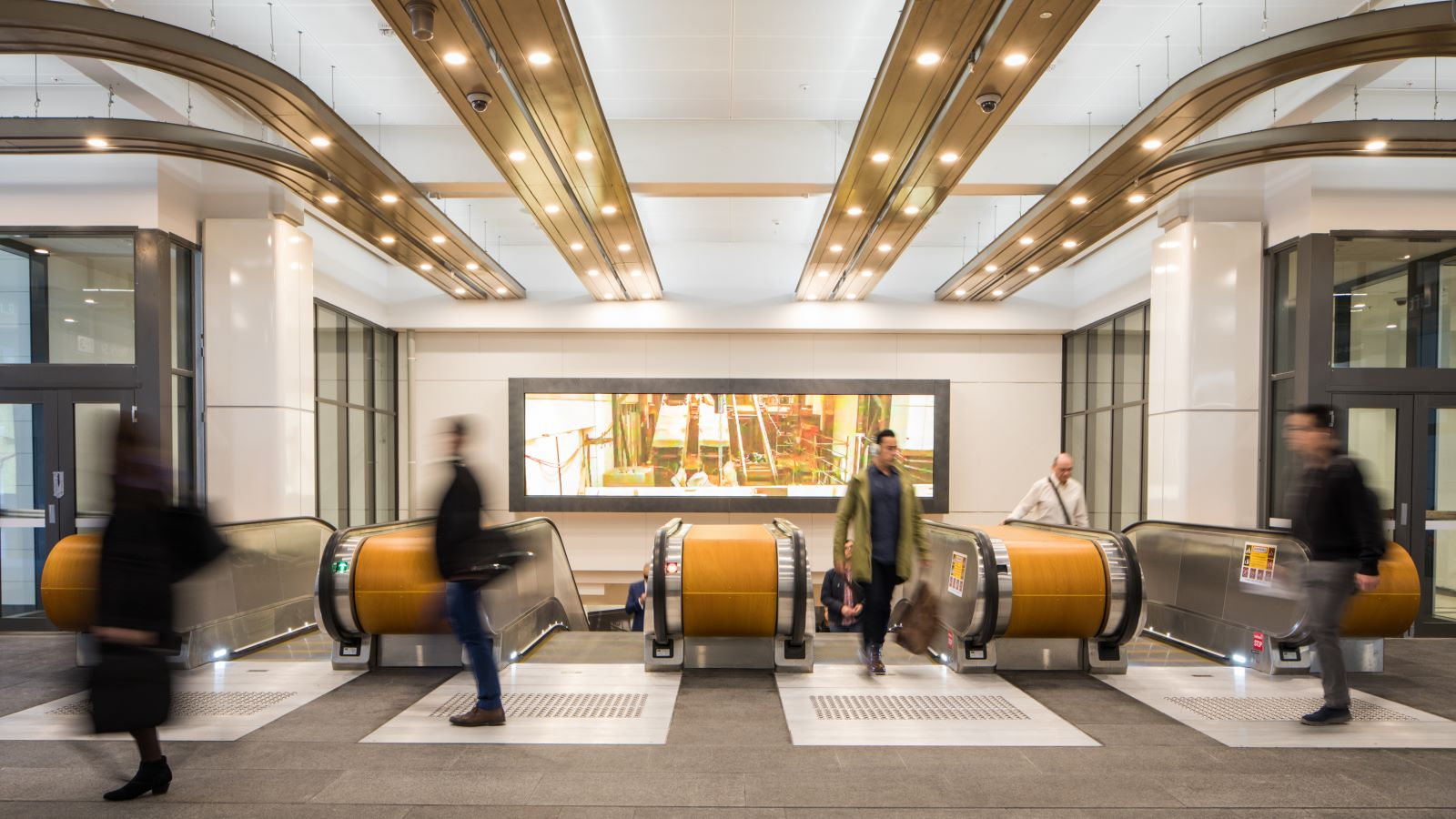 Escalators at Wynyard Train Station - Mace Group