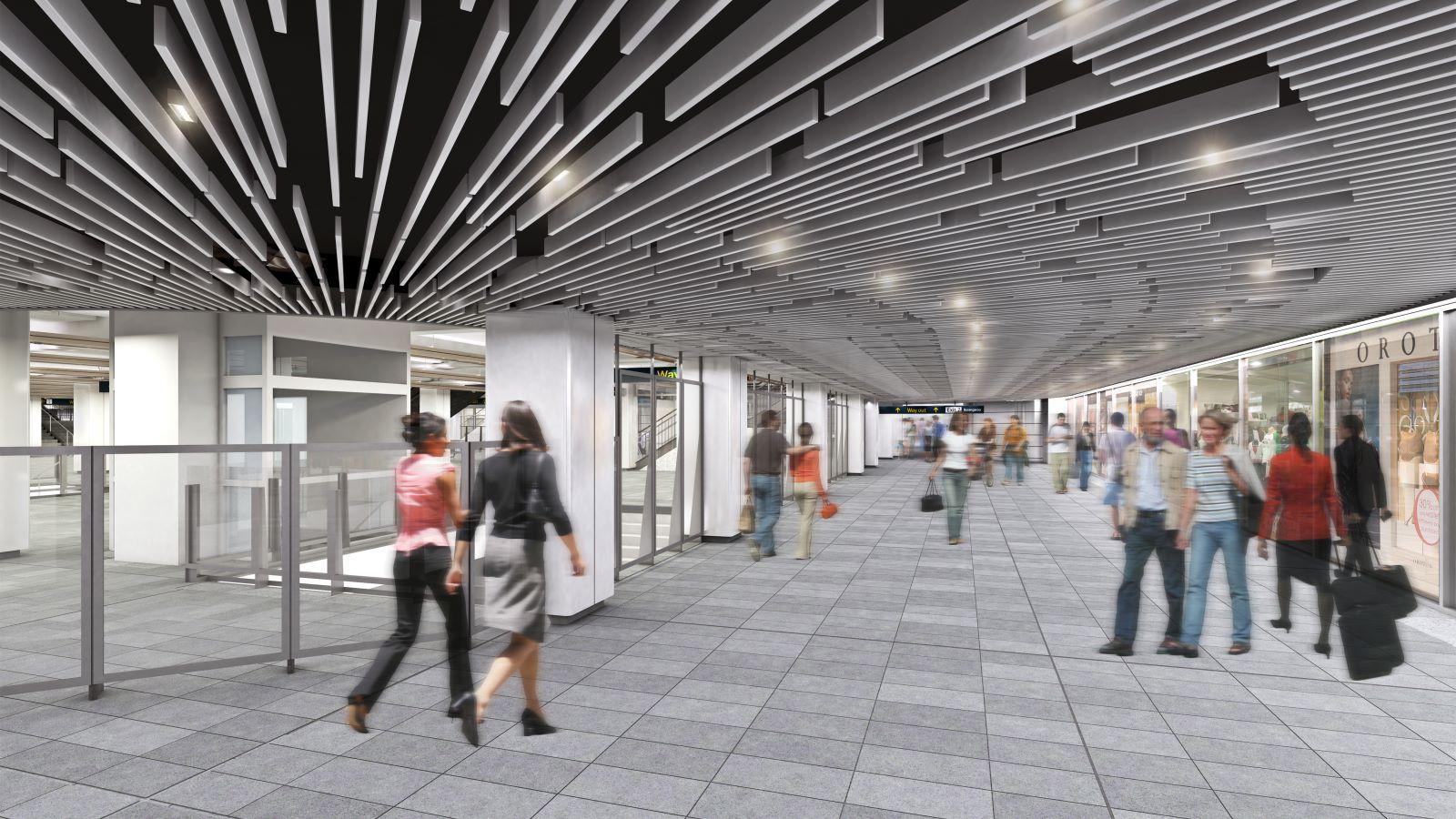 CGI of People Walking Inside Wynyard Train Station - Mace Group