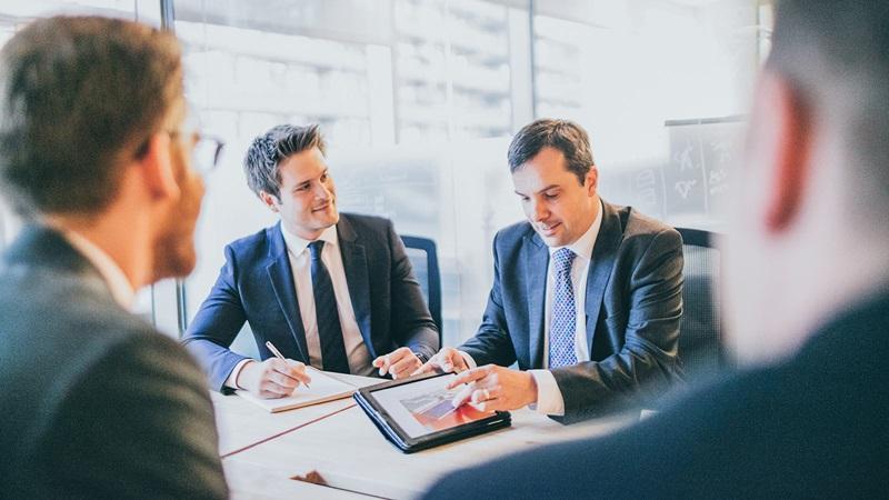 Men in Black Suit, Client Proposal Office Conference - Mace Group